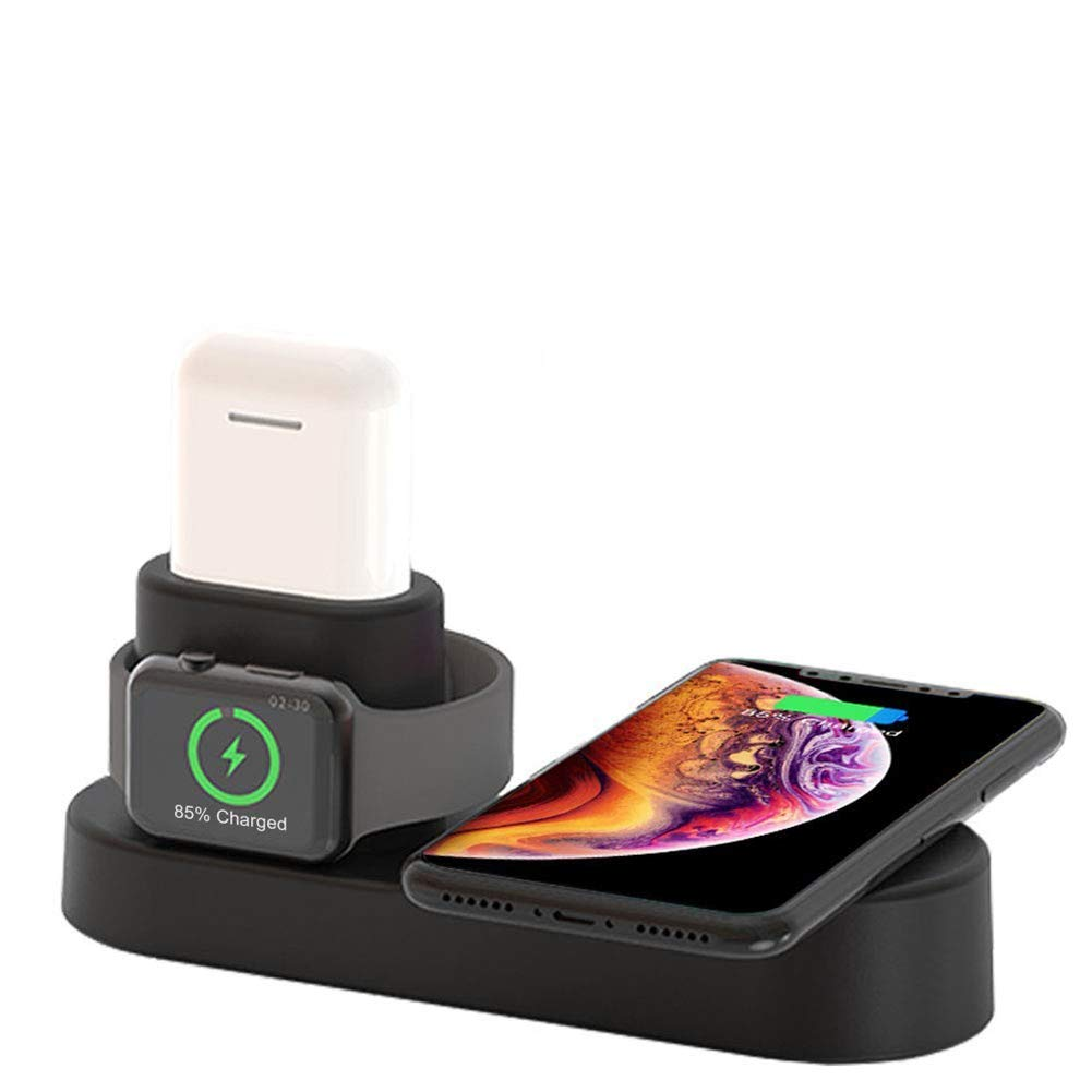 FACEVER 36W 3 in 1 Wireless Charger Station with USB Output, Fast Qi Wireless Charger Compatible with Apple Watch iWatch Airpods iPhone Xs MAX XR X 8 Plus, Samsung S9 S8+, Qi-Enabled Devices -Black by FACEVER