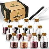 ECOBUNA ® Tarros para especias – [12 x ] 150 ml tarros de cristal con tapa de corcho – Incluye marcador de cristal en…