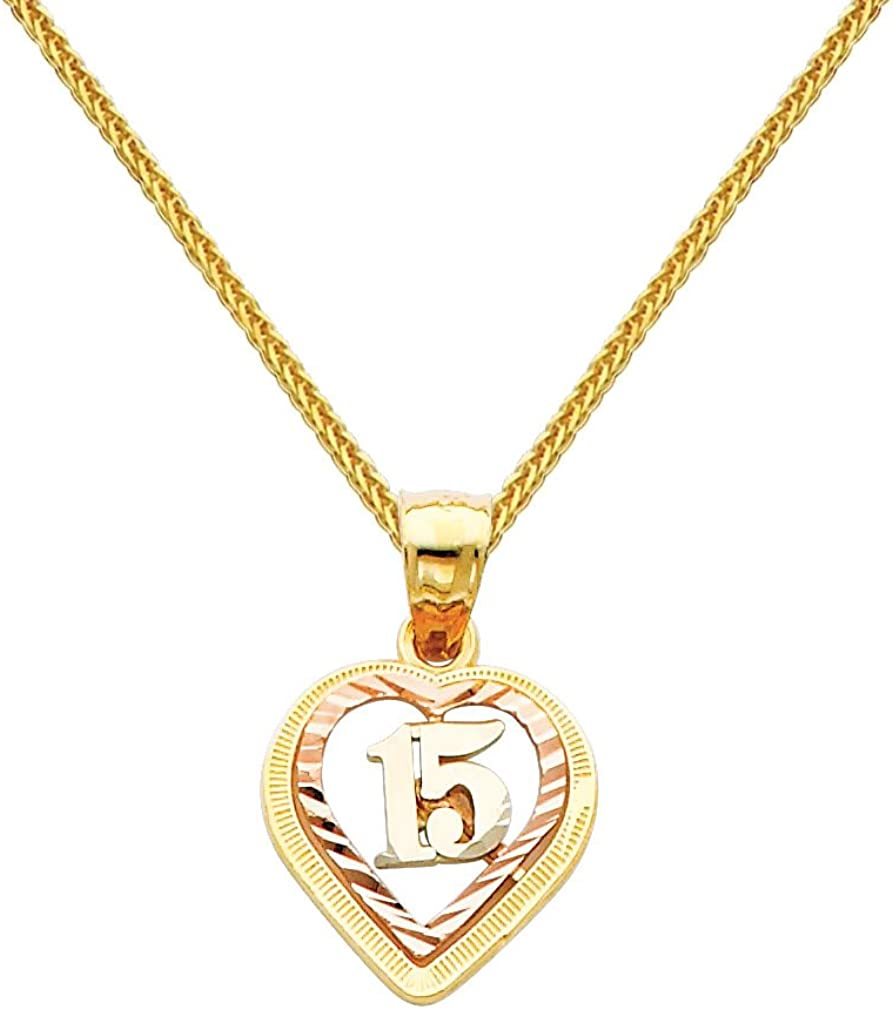 14k Tri Color Gold 15 A/ños Heart Pendant with 0.8mm Braided Square Wheat Chain Necklace