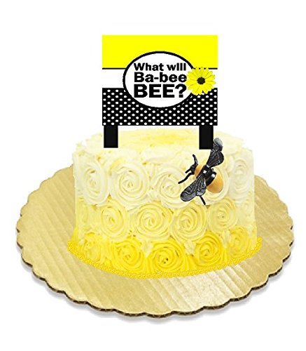 Bumblee Bee Baby Shower Boy or Girl Gender Reveal Party Supplies Collection (Cake Banner Decoration Toppers with Bee)