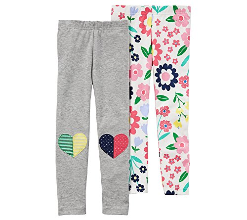 Carter's Girls' 2T-8 2 Pack Heart and Floral Leggings 2T