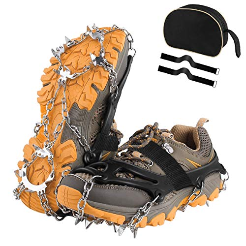 UWALK Traction Cleats, Ice Snow Grips Anti-Slip Stainless Steel 18