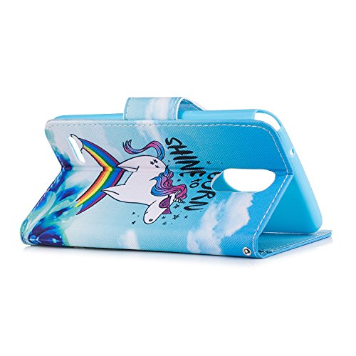 LG Stylo 3 / Stylus 3 / LS777 Hülle, Chreey PU Leder Schutzhülle mit Panda Kopf Muster Blau Bumper Flip Wallet Case Handyhülle Regenbogen Einhorn