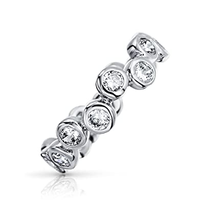 Bling Jewelry Sterling Silver Bezel Set Bubbles Cubic Zirconia Ring mry4Fv3