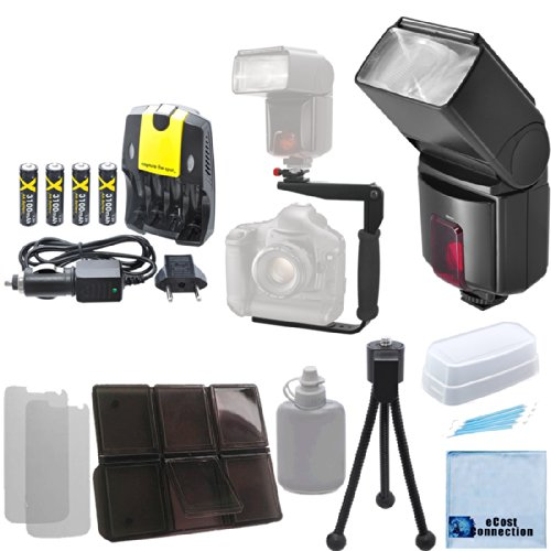 Pro Series Digital DSLR Dedicated Flash AF Flash for Nikon Nikon D5500, D810, D750, D300, D300S, D3000, D3100, D3200, D3300, D5000, D5100, D5200, D5300, D5500, D610, D600, D70, D700, D7000, D7100, D800, D800E, D90, DF, 1 J1, 1 V1 DSLR Cameras &More + 180 Degree Quick Flip rotating Flash Bracket + AA High Capacity Rechargeable Batteries + AA/AAA Charger + Complete Deluxe Starter Kit