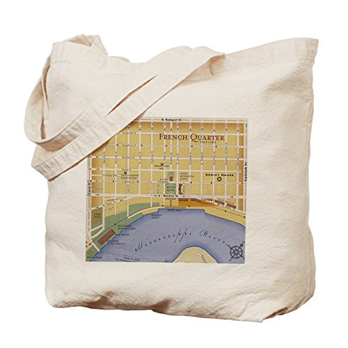 CafePress - French Quarter Map - Natural Canvas Tote Bag, Cloth Shopping - Map Quarter Shopping French