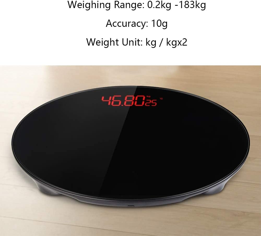 WZ Round Bathroom Scale, Highly Accurate Body Weight Scale, 183kg/403lbs, USB Charging, Lighted LED Display (Color : White) Black