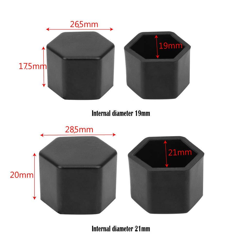 20 St/ück Rad Auto Mutter Deckel Reifen Schraube Kappe Sockel Hub Abdeckung Silikon Interior Diameter,21mm