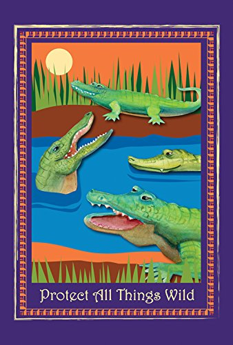 Toland Home Garden Protect Gators and Crocs 12.5 x 18 Inch Decorative Alligator Crocodile Wildlife Conservation Garden Flag