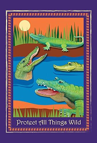 Toland Home Garden Protect Gators and Crocs 12.5 x 18 Inch Decorative Alligator Crocodile Wildlife Conservation Garden Flag