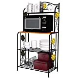 OKOKMALL US--Kitchen Baker's Rack Utility Microwave Oven Stand Storage Cart Workstation Rack