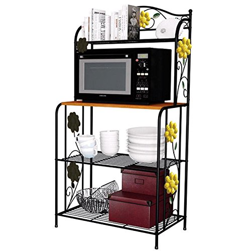 Moon_Daughter Wood Board Shelf 4 Tiers Wire Kitchen Rack Food Stand Storage Adjustable -