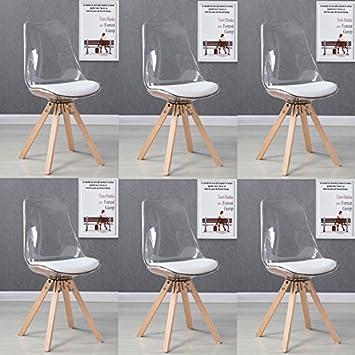 Designetsamaison Lot De 6 Chaises Scandinaves Transparentes