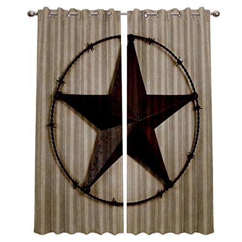 Blackout Window Curtains for Kitchen, Texas Lone Star Country West 2 Panel Window Treatments/Drape for Kids Room/Living Room/Cafe/Bedroom, 104W x 63L inch