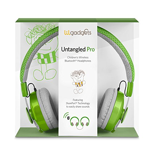 LilGadgets Untangled Pro Premium Children's Wireless Bluetooth Headphones with SharePort -  Green