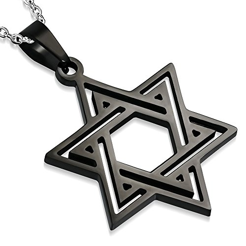 My Daily Styles Stainless Steel Black Classic Jewish Star of David Pendant Necklace, 22