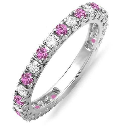 14K White Gold Pink Sapphire & White Diamond Eternity Sizeable Wedding Band