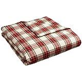 Pinzon 160 Gram Plaid Velvet Flannel Duvet Cover - Twin, Cream/Red Plaid