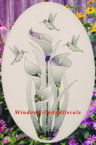 Lily & Hummingbirds Oval Etched Window Decal Vinyl Glass Cling - 21