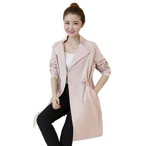 Mujer Trench Coat Turn-Down Collar de manga larga El¨¢stico de la cintura oto?o Long Windjack Jacket...