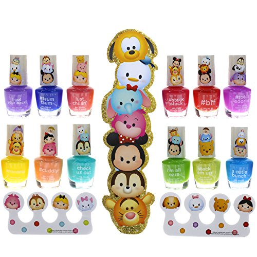 Townley Girl Tsum Tsum Best Shimmery, Shiny Nail Polish Kit, with Toe Separators and Nail File, 12 fun (Spa Girl Costume)