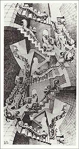House of Stairs M. C. Escher Fantasy Poster Print 17.75x31.25 - Escher Check