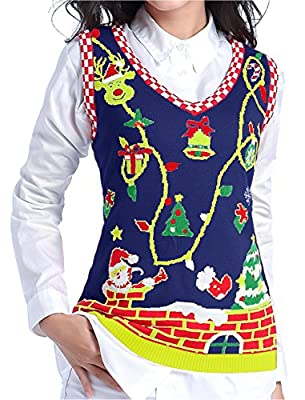 v28 Ugly Christmas Sweater, Women Girl Cute Vintage Knit Xmas Pulli Sweater Vest