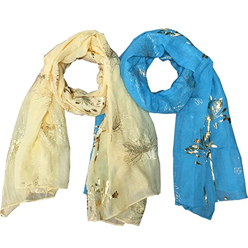 Lily Park Women's Fashion Soft Light Weight Floral Print Sheer Scarf Shawl Wrap (2 Pack Yellow&Blue) - Sheer Floral Scarf