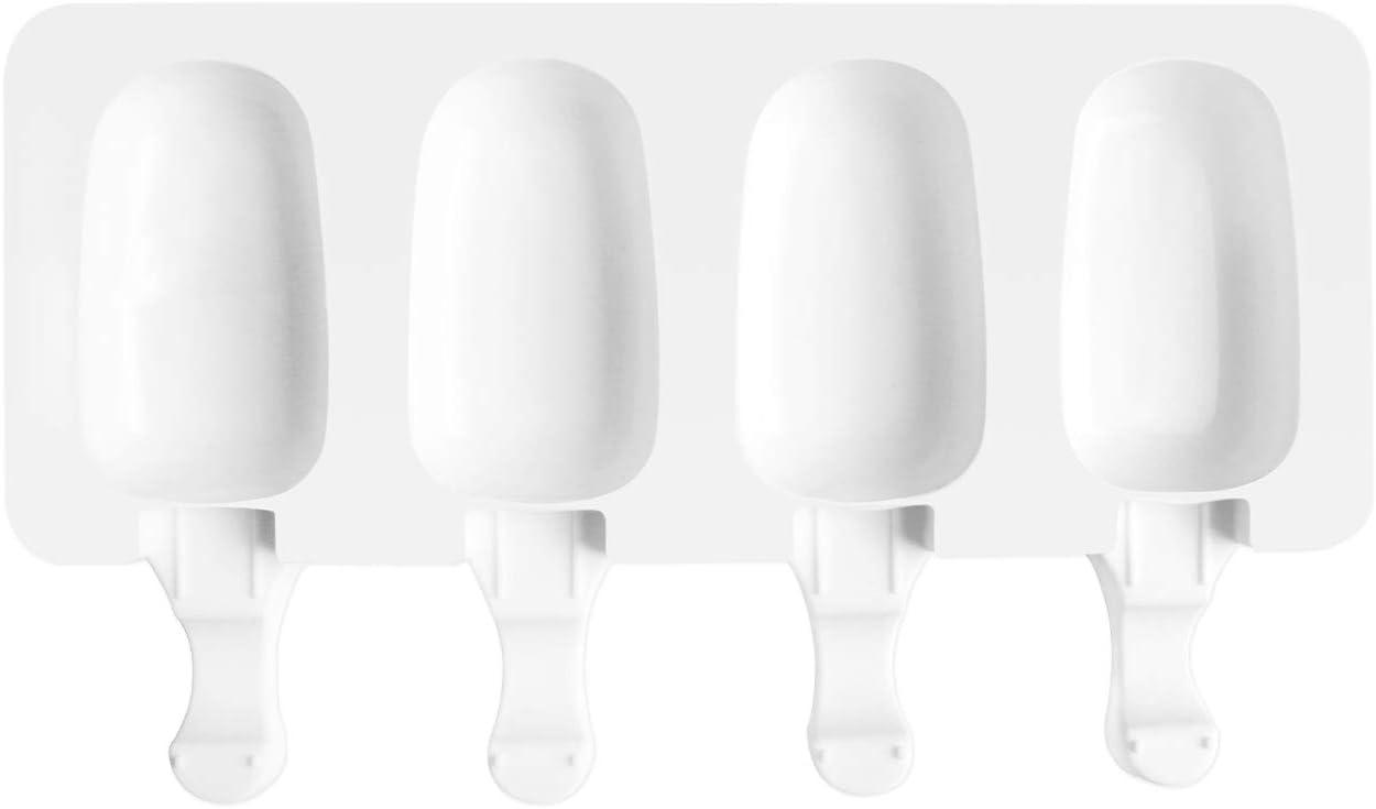 AWIIK - Moldes Helados Silicona para Hacer Helados pequeños en el congelador. Molde para Helados caseros, Helados saludables, moldes Polos fit y Real Food (Incluye 50 Palos de Madera Reutilizables) S