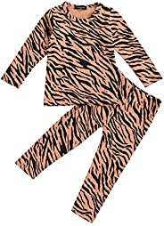 AmbabeOnline Kids Leopard Pajamas Long Sleeve Tops+Pants Toddler Baby Girl Boy 2Pcs Sleepwear Cotton Pjs Set