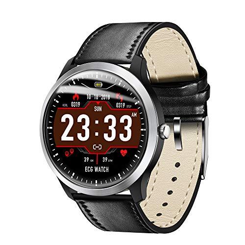 N58 ECG Sports Watch HRV Report Blood Pressure Heart Rate Test ECG+PPG ECG Smart Bracelet (Black Leather)