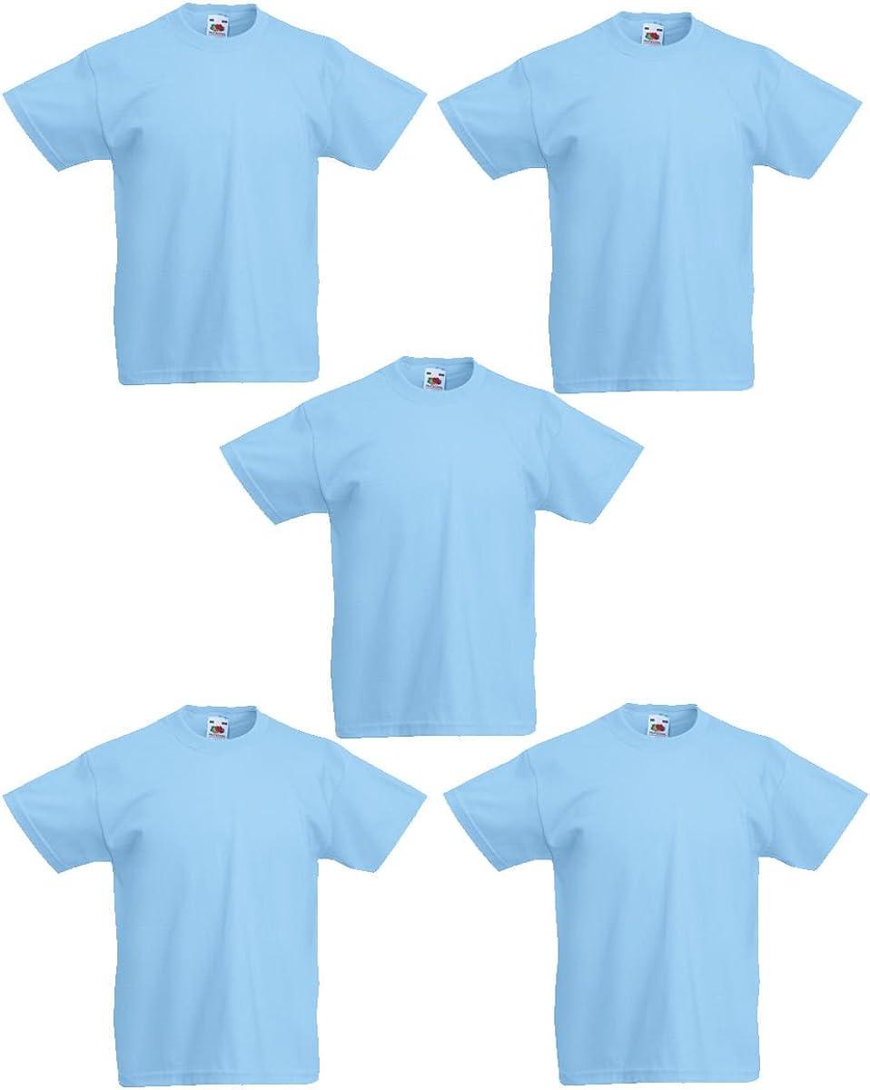 Fruit of the Loom 5 Pack FOTL Original Kids Boys Girls T Shirt