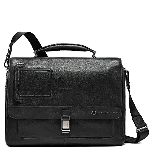 Piquadro Expandable Computer Messenger with iPad Compartment, Black, One Size by Piquadro