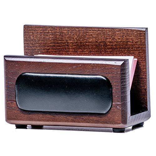 Dacasso Walnut and Leather Business Card Holder