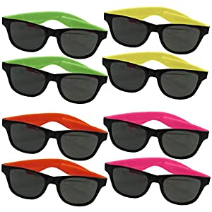24 Pairs Of Neon Long Lasting 80's Retro Vintage Party Eyewear ,Shades ,Sunglasses For Children And Adults By Dazzling Toys