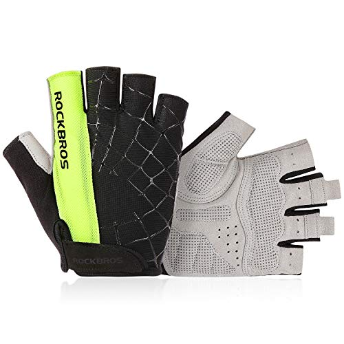 Lanyi Cycling Gloves Bike Gloves Mens Womens Shock-Absorbing Pad Anti-Slip Half Finger Weight Lifting Gloves Biking Gloves Workout Gloves Mountain Climbing Bicycle Exercise Gloves (Green,XL)