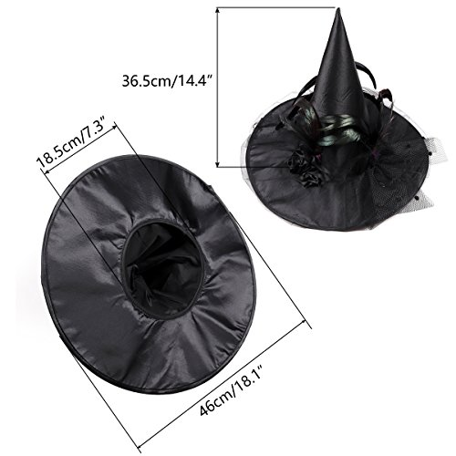 Goetland Women Deluxe Witch Hat Halloween Costume Sharp Pointed with Veils Spiders Feathers for Party Carnival Black