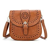 vintage bags - Forestfish Ladie's PU Leather Vintage Hollow Bag Crossbdy Bag Shoulder Bag (Brown)