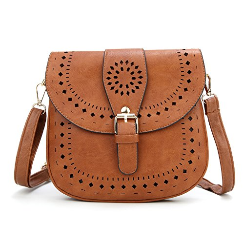 - Forestfish Ladie's PU Leather Vintage Hollow Bag Crossbdy Bag Shoulder Bag (Brown)
