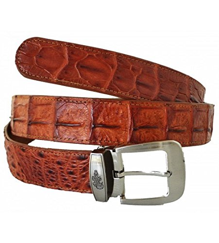 Hornback Crocodile Belt (Authentic Sefaro Crocodile Skin Men's Big Hornback Pin Belt)