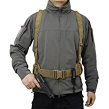 OneTigris Waist Belt with X-shaped Suspenders Airsoft Combat Duty Belt with Comfortable Pads and Removable Harness