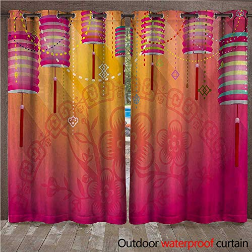 WilliamsDecor Lantern Outdoor Curtains for Patio Sheer Abstract Eastern New Year Festivities Handmade Asian Cultures China Floral Background W108 x L84(274cm x 214cm) ()