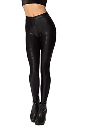 884fb62bfa4217 Pink Queen Womens Mermaid Fish Scales Leggings Stretchy Tights Skinny Pants  S Black