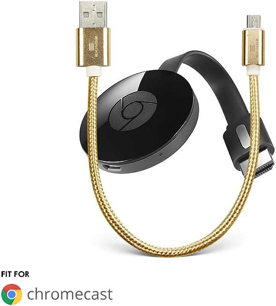 EXINOZ Cable USB Chromecast- Cable USB de 8 Pulgadas diseñado para Alimentar su Google Chromecast en el Streaming HDMI Media Player de su Puerto USB TV: Amazon.es: Electrónica