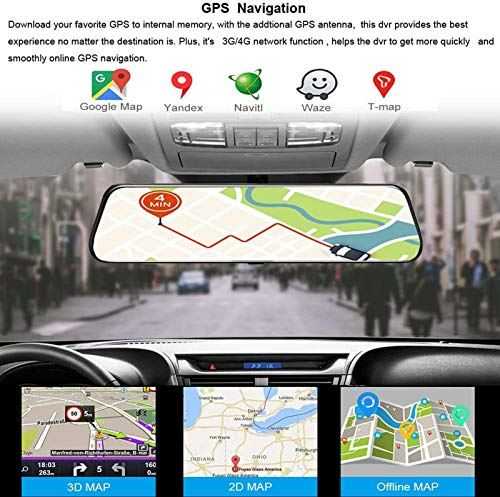 """ZQTHL 12"""" Full Car Dash Mounted Cameras Screen 4G Touch IPS Car Dashboard Cam Back View Android 8.1 Mirror with WiFi GPS Navi Bluetooth Music Dual Lens FHD 1080P"""