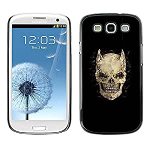 GOODTHINGS ( NO PARA S3 Mini ) Funda Imagen Diseño Carcasa Tapa Trasera Negro Cover Skin Case para Samsung Galaxy S3 I9300 - cuernos cráneo huesos muerte diablo de horror