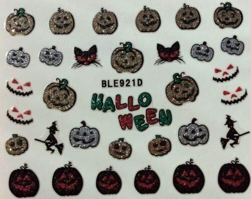 Nail Art 3D Glitter Decal Stickers Halloween Pumpkins Witch Black Cat BLE921D]()