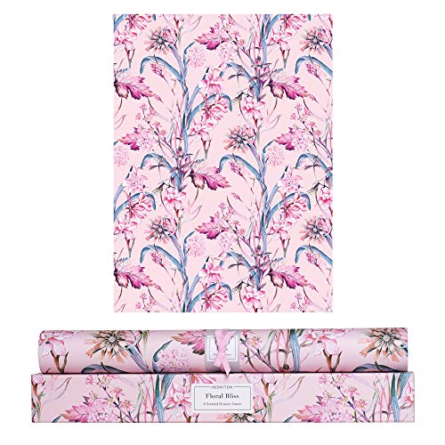 Merriton Scented Drawer Liners, Royal Fresh Scent Paper Liners for Cabinet Drawers, Dresser Shelf, Linen Closet, Perfect for Kitchen, Bathroom, Vanity (6 Sheets) (Floral Bliss)