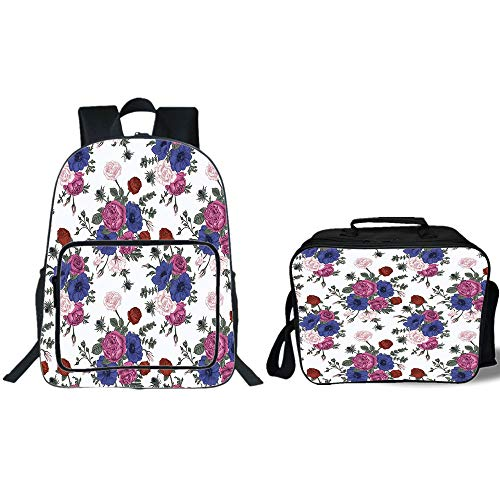 iPrint 19'' School Backpack & Lunch Bag Bundle,Anemone Flower,Bouquets of Roses Anemones Eustoma Colorful Corsage Bedding Plants Design Decorative,Multicolor,for Boys Girls by iPrint