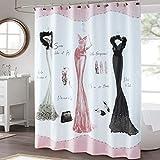 Pink Shower Curtain DS BATH Haute Pink Shower Curtain,Mildew Resistant Shower Curtain,Print Shower Curtains for Bathroom,Cute Bathroom Curtains,Waterproof Polyester Fabric Shower Curtain,72